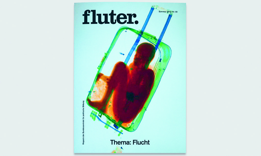 Fluter's cover of the 'Flucht' (flight) issue about migration features an x-ray image captured by the Spanish Guardia Civil in Ceuta, where a woman had attempted to smuggle an eight-year-old boy across the border in a suitcase.